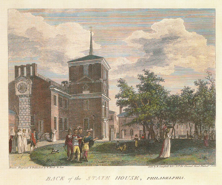 Birch's Views Plate 23 - Independence Hall in 1799, with the wooden steeple removed and Thomas Stretch's clock (far left).