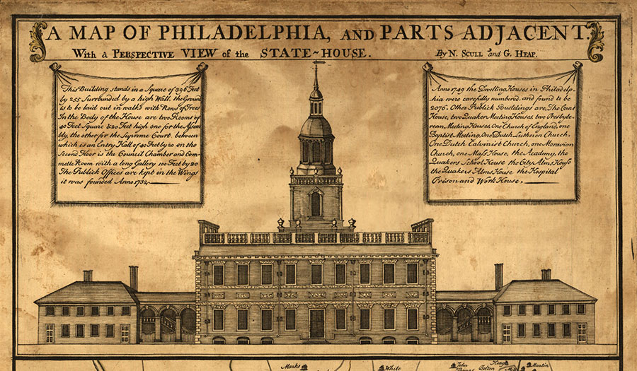 Detail of A Map of Philadelphia and Parts Adjacent, depicting the State House as it appeared in 1752. The image shows the original bell tower, which lacked a clock.